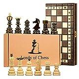 Schachspiel schach Schachbrett Holz hochwertig - Chess board Set klappbar mit Schachfiguren groß für Kinder und Erwachsene 42 x 42 cm