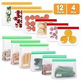 UOON Lebensmittel Beutel,12 Pack Wiederverwendbare Sandwich Snack Taschen, Mehrzweck PEVA Küche...