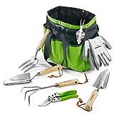WORKPRO Gartenwerkzeug Set, 7 in 1 Gartengeräte aus rostfrei Edelstahl mit Holzgriff, Werkzeugbeutel inkl.