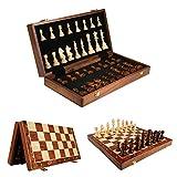 XIUWOUG Schachspiel Holzschach, Hochwertiges Schach Faltbares Schachspielbrett mit Tragbarem, Reiseschachspielbrett Premium Walnussholz Geschenke für Erwachsene und Kinder,45 * 45CM